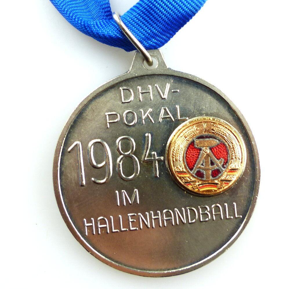 #e4164 DDR Medaille DHV Pokal 1984 im Hallen Handball silberfarben 1