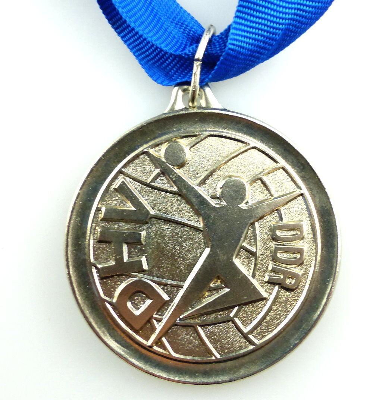 #e4164 DDR Medaille DHV Pokal 1984 im Hallen Handball silberfarben 2