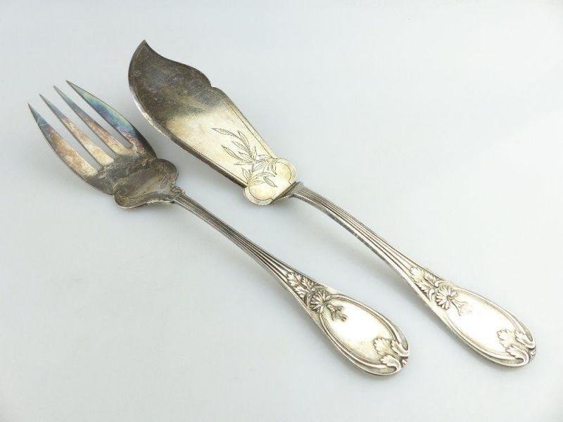 Altes Fischvorlegebesteck Vorlegegabel und Vorlegemesser Silberauflage e513 0