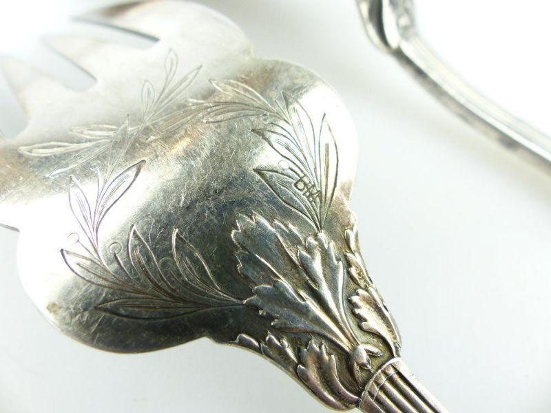 Altes Fischvorlegebesteck Vorlegegabel und Vorlegemesser Silberauflage e513 2