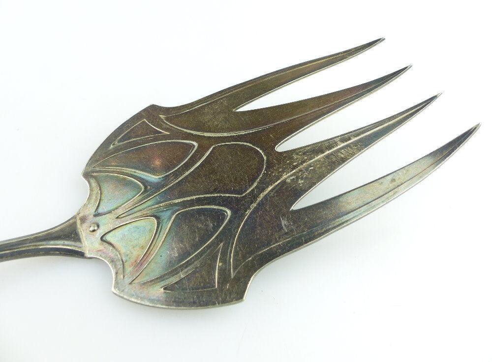 Original alter Vorleger großer Fischvorleger Silberauflage WMF Jugendstil e512 1
