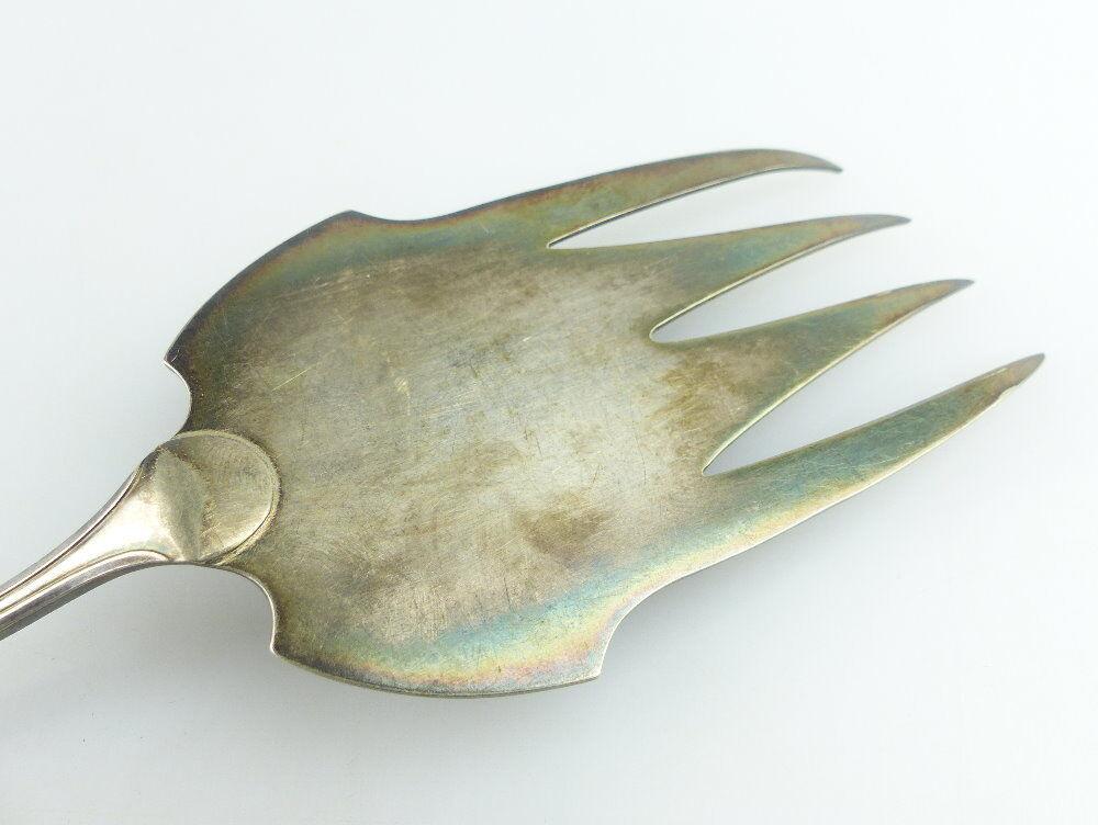 Original alter Vorleger großer Fischvorleger Silberauflage WMF Jugendstil e512 2