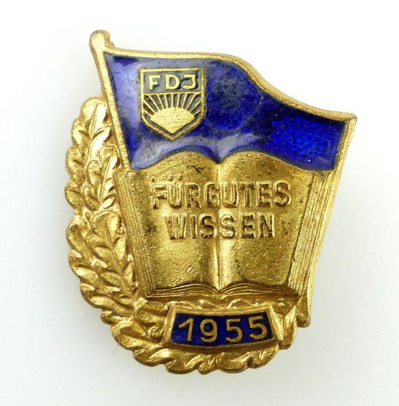 #e2068 FDJ Abzeichen für gutes Wissen glodfarben nummeriert 01691 von 1955 0
