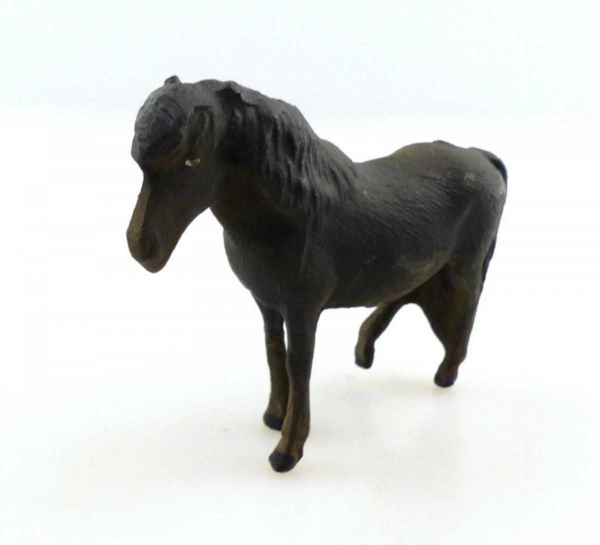 E9397 Antikspielzeug Tier Masse Figur Lineol Pony schwarz