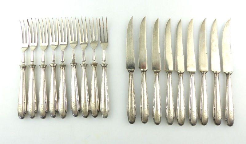 E9683 WMF Obstbesteck für 9 Personen mit Ziermonogramm EL 18 versilberte Teile