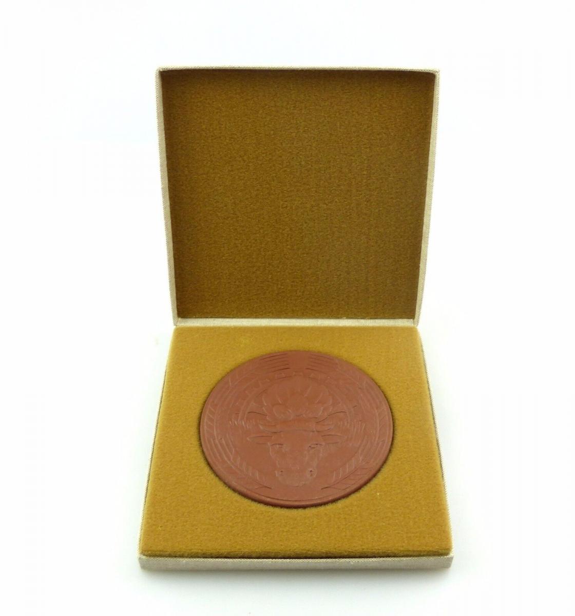 #e7903 Meissen Medaille LPG (T) Otto Buchwitz Hasslau Kuh, Haselnüsse