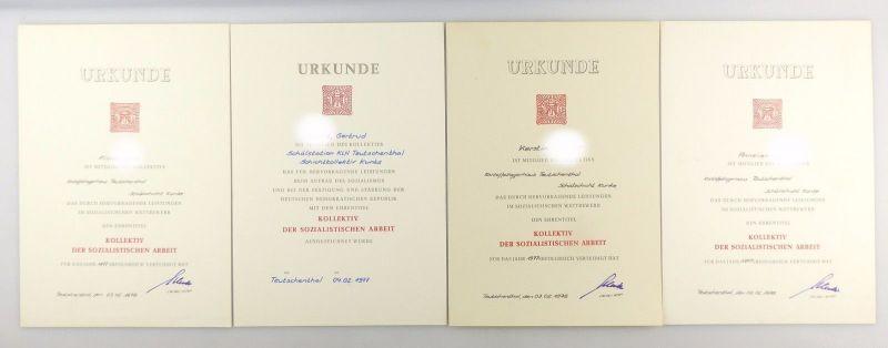 #e5357 6 original alte Urkunden in roter Mappe DDR Kollektiv Kartoffellagerhaus