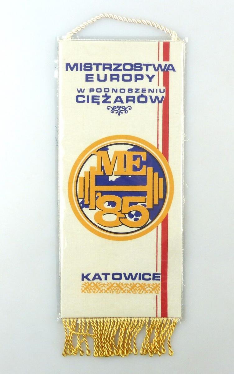 #e6413 Wimpel Mistrzostwa Europy w Podoszeniu Ciezarow ME '85 Katowice