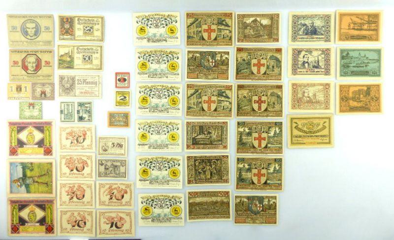 Verschiedene Serien Notgeld - 47 Scheine z.B. Weimar, Freiberg etc. e1014