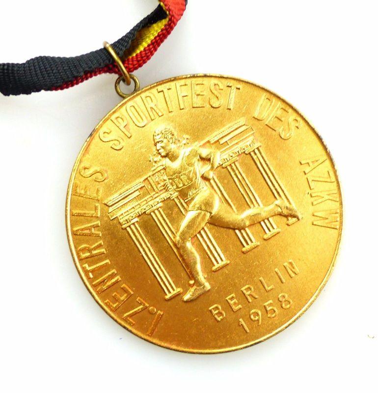 #e5803 DDR Medaille Berlin 1958 I. Zentrales Sportfest des AZKW Zoll / Dynamo 0