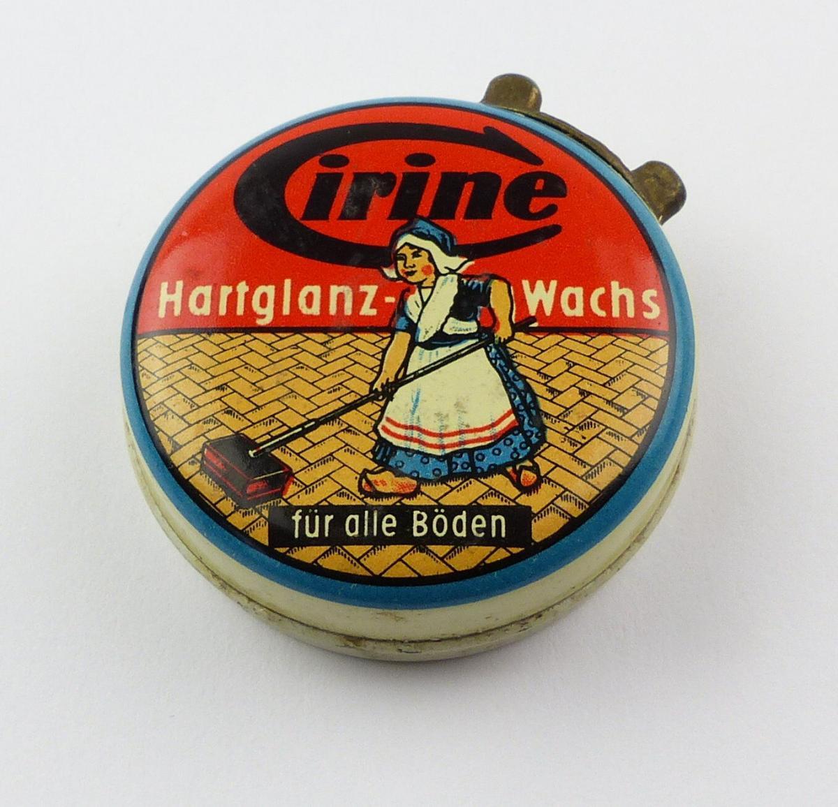 #e8265 Alte Blechdose Werbung Cirine Hartglanz-Wachs für alle Böden