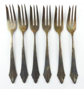 E9792 6 WMF Fächermuster Kuchengabeln 100er Silberauflage