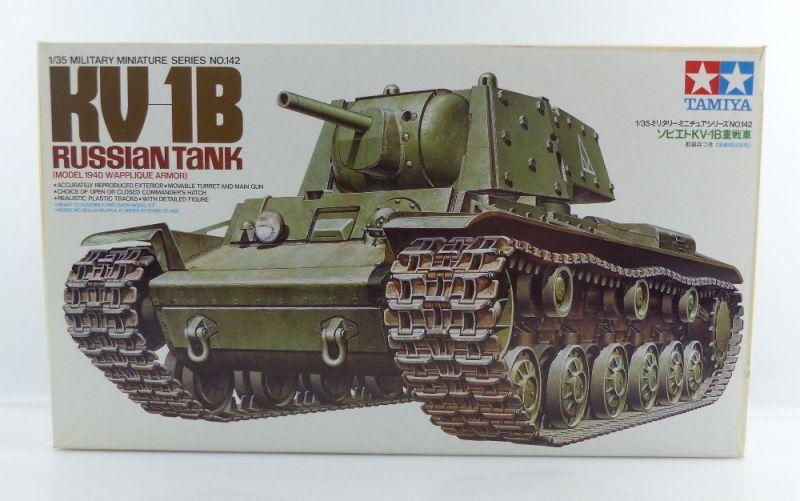#e3149 Modell Bausatz Tamiya 142 KV-1B Russischer Panzer Model 1940 Maßstab 1:35