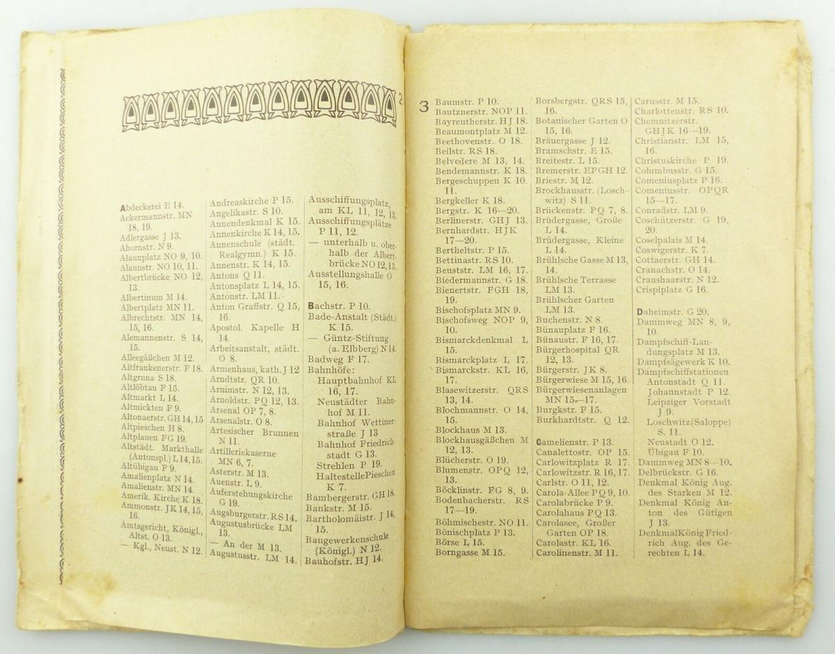E9619 Kleiner Plan von Dresden mit Straßenverzeichnis Meinhold und Söhne 5