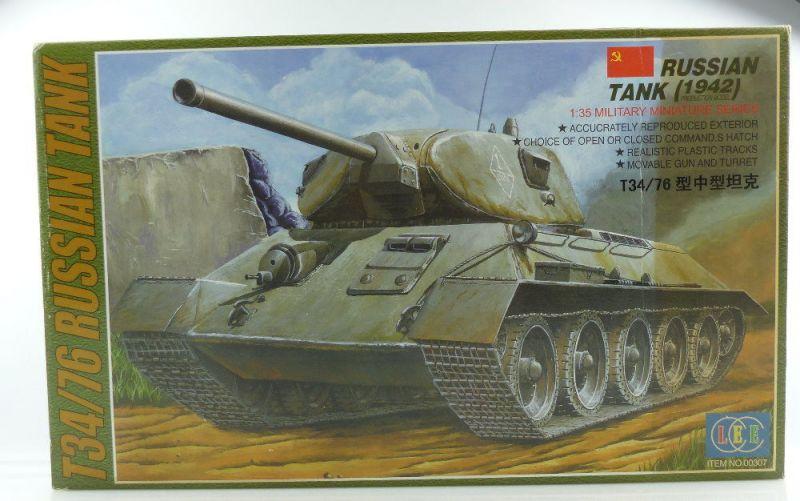 #e3144 Modell Bausatz LEE no 00307 Russischer Panzer 1942 T34/76 Maßstab 1:35