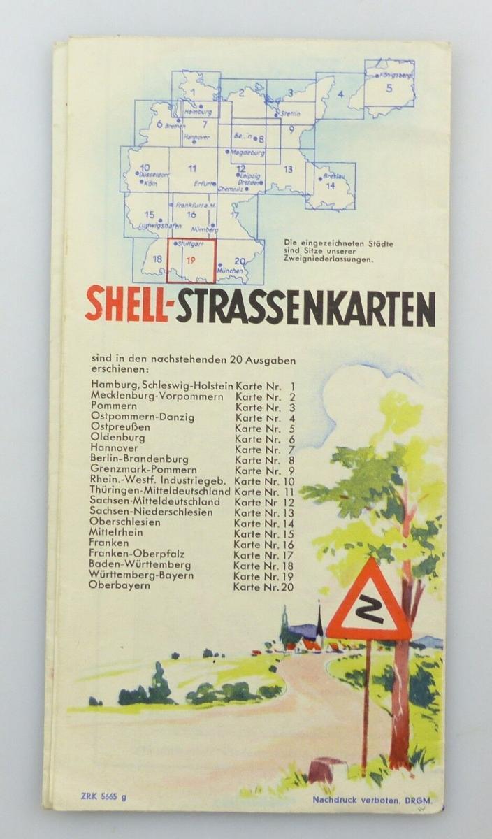 E9617 Shell Straßenkarte Nummer 19 Württemberg Bayern 1