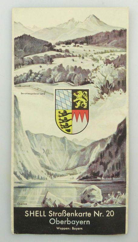 E9616 Shell Reisedienst Straßenkarte Nr 20 Oberbayern Obersee 0