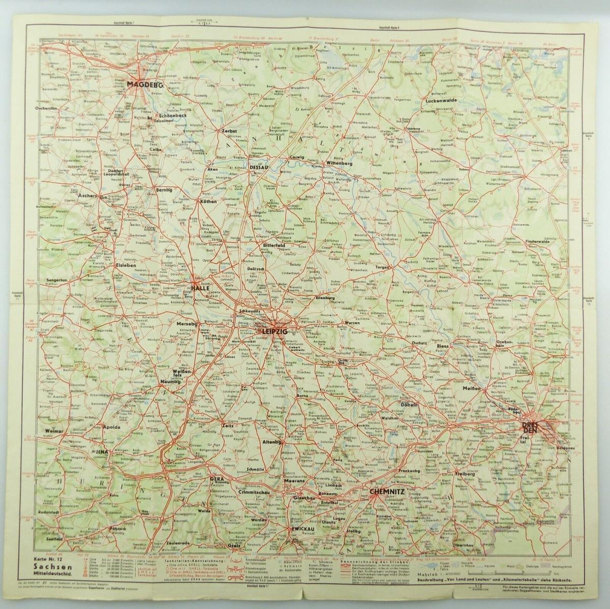 E9615 Shell Straßenkarte Nr 12 Meißen Sachsen Mitteldeutschland Reisedienst 4