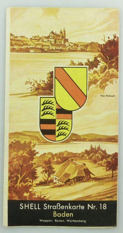 E9614 Alte Shell Straßenkarte Nummer 18 Baden Titisee