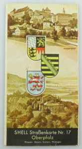 E9613 Alte Shell Straßenkarte Nummer 17 Oberpfalz Festspielhügel Bayreuth