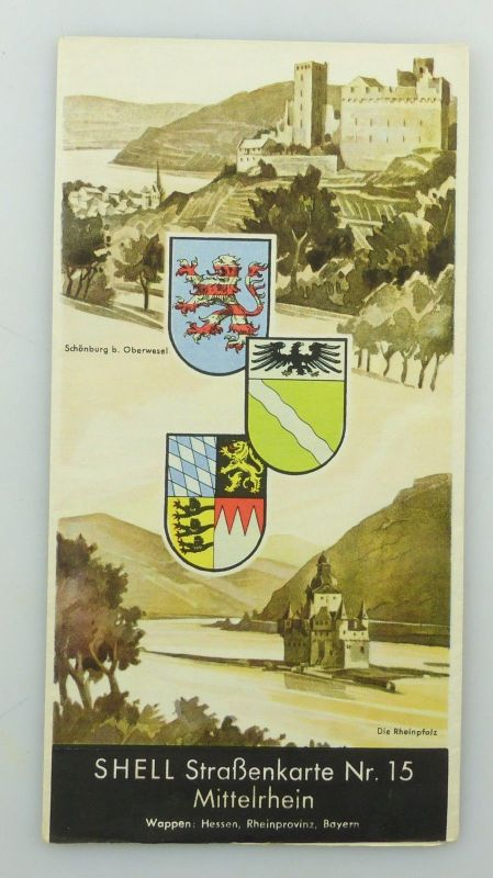 E9612 Alte Shell Straßenkarte Nummer 15 Mittelrhein Hessen Rheinprovinz Bayern