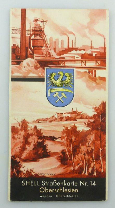 E9611 Alte Shell Straßenkarte Nummer 14 Oberschlesien Glatzer Bergland