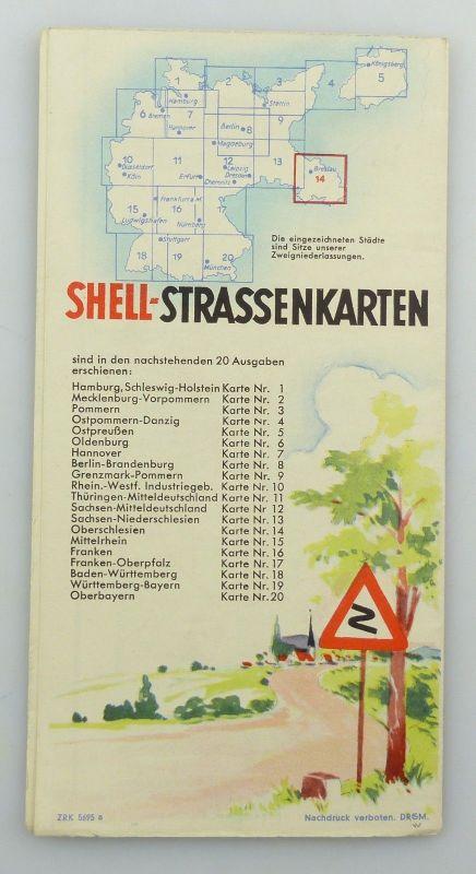 E9611 Alte Shell Straßenkarte Nummer 14 Oberschlesien Glatzer Bergland 1