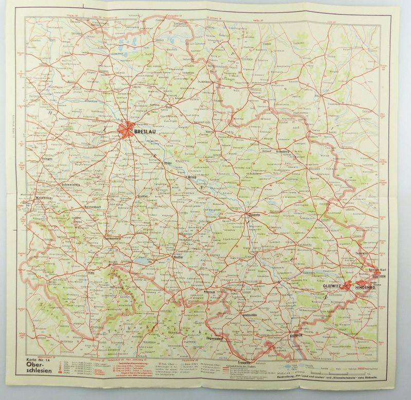 E9611 Alte Shell Straßenkarte Nummer 14 Oberschlesien Glatzer Bergland 3