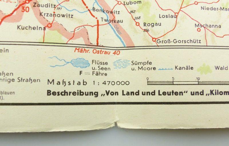 E9611 Alte Shell Straßenkarte Nummer 14 Oberschlesien Glatzer Bergland 4