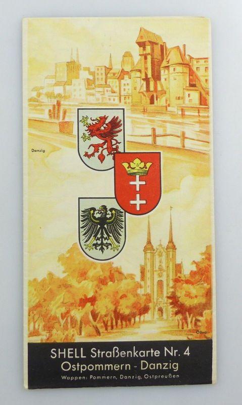E9610 Alte Shell Straßenkarte Nummer 4 Ostpommern Danzig