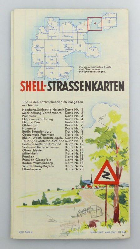 E9610 Alte Shell Straßenkarte Nummer 4 Ostpommern Danzig 1