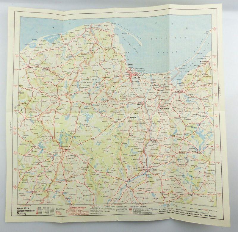 E9610 Alte Shell Straßenkarte Nummer 4 Ostpommern Danzig 2