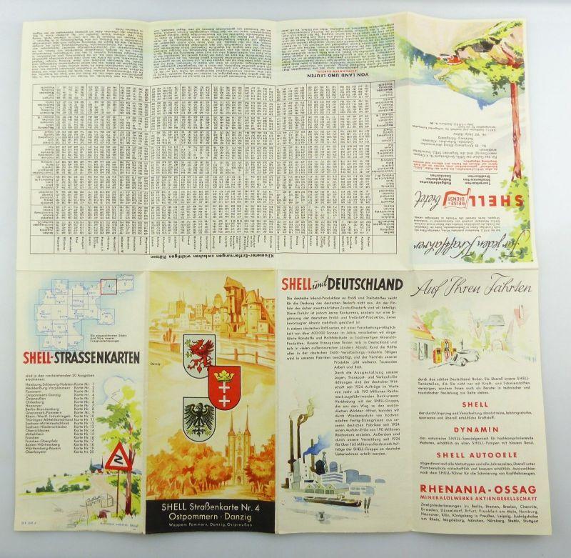 E9610 Alte Shell Straßenkarte Nummer 4 Ostpommern Danzig 3