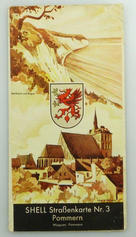 E9609 Alte Shell Straßenkarte Nummer 3 Pommern Steilküste auf Rügen 0