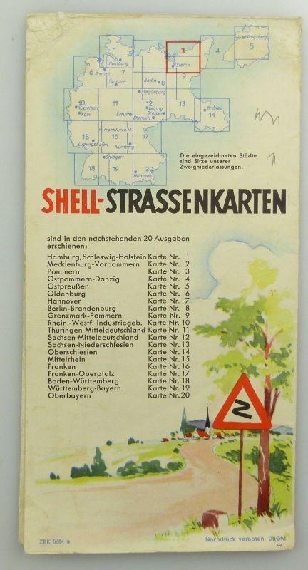 E9609 Alte Shell Straßenkarte Nummer 3 Pommern Steilküste auf Rügen 1