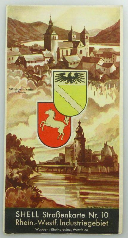 E9606 Alte Shell Straßenkarte Nummer 10 Rheinland Westfalen Industriegebiet