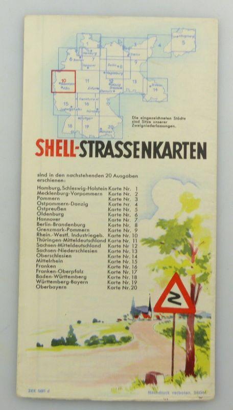 E9606 Alte Shell Straßenkarte Nummer 10 Rheinland Westfalen Industriegebiet 1