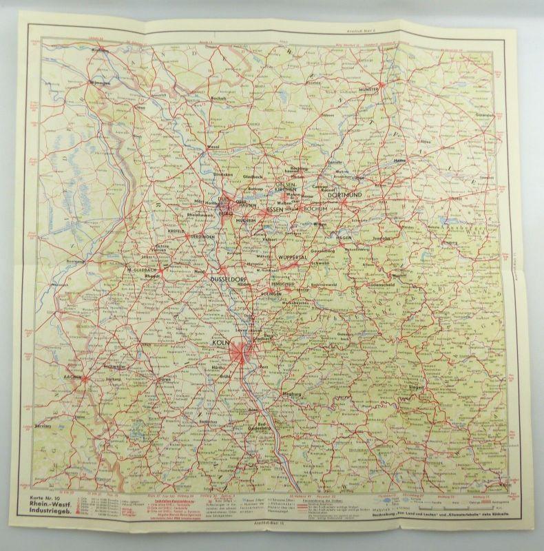 E9606 Alte Shell Straßenkarte Nummer 10 Rheinland Westfalen Industriegebiet 3