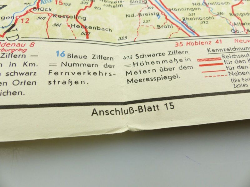 E9606 Alte Shell Straßenkarte Nummer 10 Rheinland Westfalen Industriegebiet 4