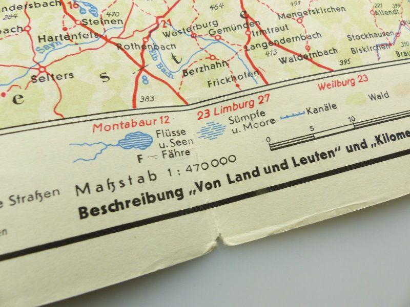 E9606 Alte Shell Straßenkarte Nummer 10 Rheinland Westfalen Industriegebiet 5