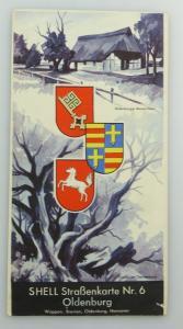 E9605 Alte Shell Straßenkarte Nummer 6 Oldenburg Oldenburger Bauernhaus