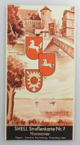E9604 Alte Shell Straßenkarte Nummer 7 Hannover Braunschweig Schaumburg Lippe