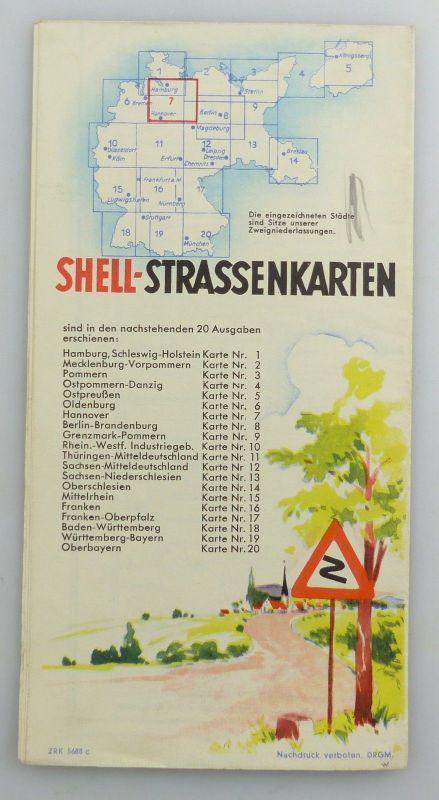 E9604 Alte Shell Straßenkarte Nummer 7 Hannover Braunschweig Schaumburg Lippe 1