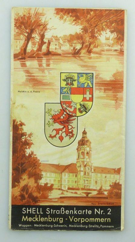E9603 Alte Shell Straßenkarte Nummer 2 Mecklenburg Vorpommern