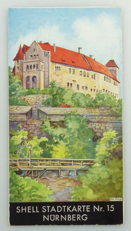 E9601 Alte Shell Stadtkarte Nummer 15 Nürnberg