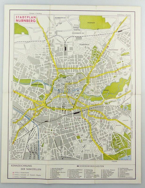 E9601 Alte Shell Stadtkarte Nummer 15 Nürnberg 2