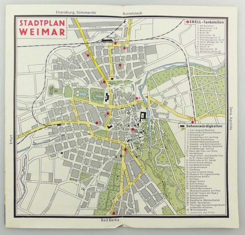 E9593 Alte Shell Stadtkarte Nummer 71 Weimar 3