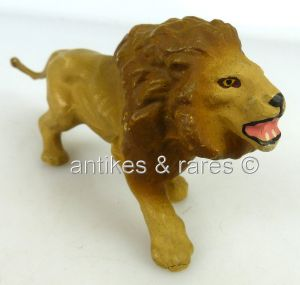 Tolles altes Elastolin Tier angreifender brüllender Löwe