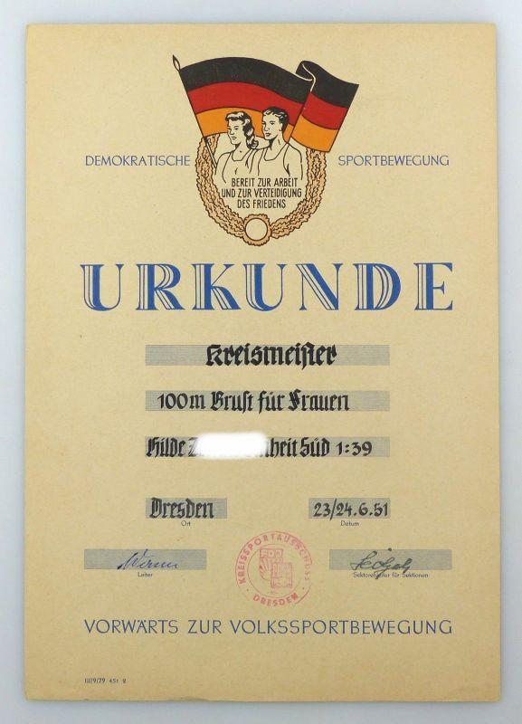 E9877 DDR Urkunde Kreismeister FDJ FDGB 100 m Brust für Frauen 1951