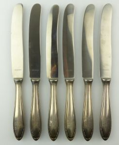 E9864 6 Messer mit versilberten Griffen 100er Silberauflage Klingen rostfrei
